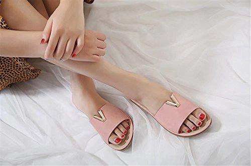 【ユウエ】サンダル レディース ビーチサンダル ローヒール 歩きやすい 大きいサイズ 女性用サンダル 靴 018-jxfxc-858-2(22.5CM ピンク)