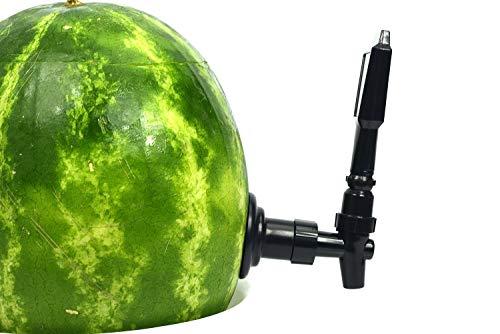 KeggerMelon Watermelon Keg Tapping Kit Spigot Instant Keg Silver Black with Bonus Drilling Tool Made by Mello ()