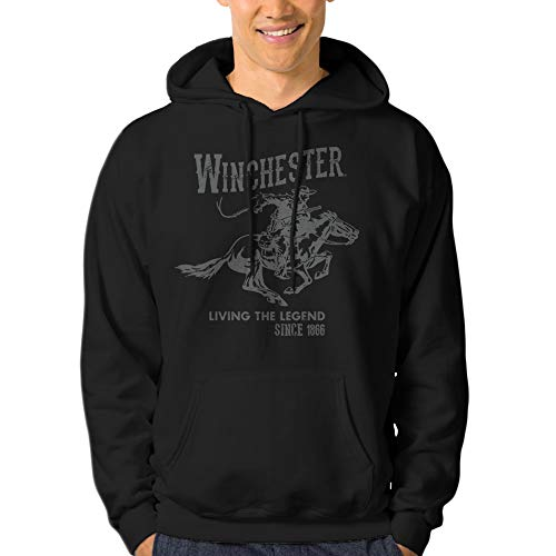 Winchester Official Mens Vintage Rider Classic Fleece Hoodie (X-Large, Black)