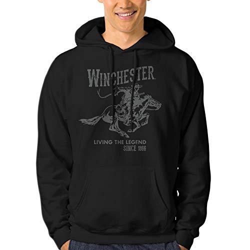 Winchester Official Mens Vintage Rider Classic Fleece Hoodie (Medium, Black)