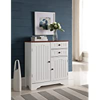 Kings Brand White/Walnut Finish Wood Kitchen Storage Buffet Cabinet