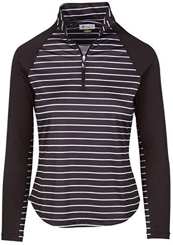 Solar Stripe - Greg Norman Women's Solar Xp 1/4-zip Stripe Mock Golf Shirt, Black, Small