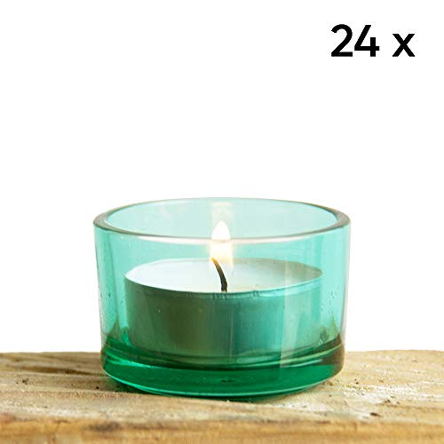 Chive - Green Glass Tealight Candle Holder, 24 Bulk Pack Set for Weddings, Parties, Events and Home Decor Tea Light