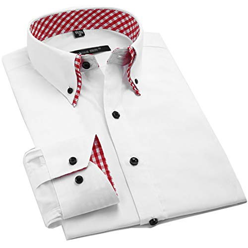 (Mens Italian Shirts Double Collar Slim Fit Casual Button Down Shirt (RED Check XL))