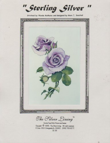 Silver Lining Cross Stitch Patterns - Sterling Silver (rose counted cross stitch pattern)
