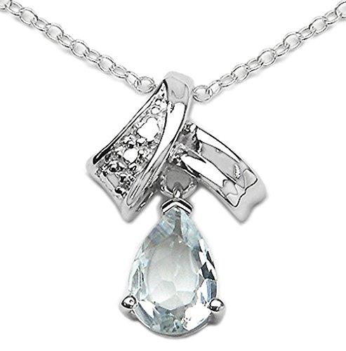 Bijoux Schmidt-Collier / Chaîne chute Aquamarine Pendentif Argent Rhodié 1,10 carats
