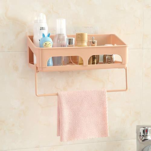 (KCPer Bathroom Shelf (No Drilling) Durable Aluminum 1Tiers Shower Shelf Kitchen Storage Basket Adhesive Suction Corner Shelves Shower Caddy With Hair hanger (Pink))