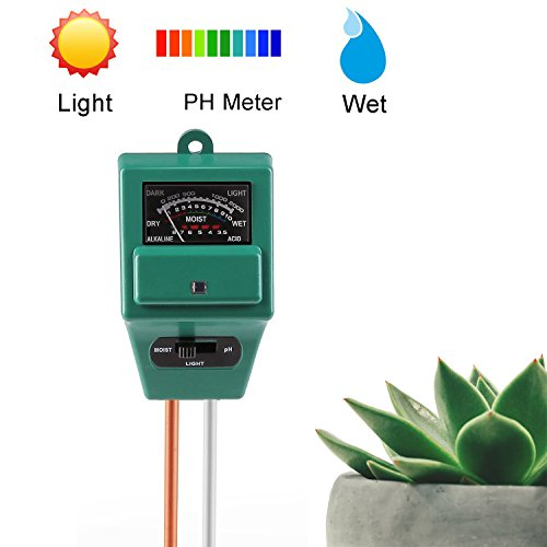 Instant Read, DoitY 3 in 1 Soil Tester Moisture Meter Light and PH Meter Plant Tester for Garden, Farm, Lawn, Indoor & Outdoor (No Battery needed)