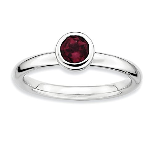 ICE CARATS 925 Sterling Silver Low 5mm Round Rhodolite Red Garnet Band Ring Size 7.00 Stone Stackable Gemstone Birthstone June Fine Jewelry Ideal Mothers Day Gifts For Mom Women Gift Set From Heart - Garnet Sterling Silver Designer Ring