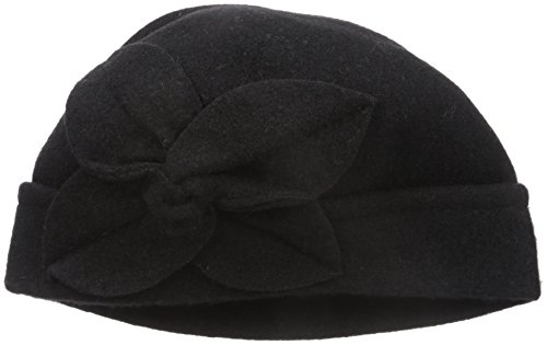 Parkhurst Women's Twist Flower Pull On Hat, Black, One Size (On Pull Wool Hat)
