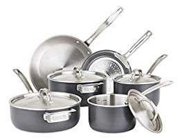 Viking Culinary 5-Ply Hard Stainless Cookware Set with Hard Anodized Exterior, 10 Piece