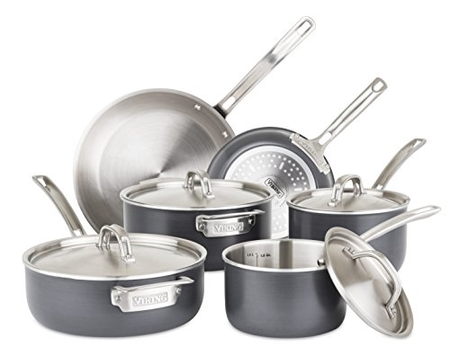 - Viking 5-Ply Hard Stainless Cookware Set with Hard Anodized Exterior, 10 Piece