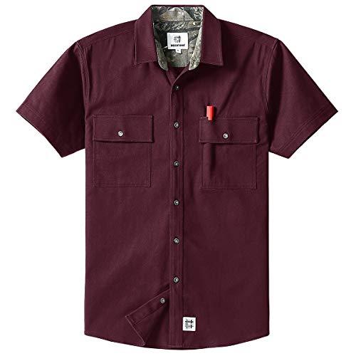 (Men's Short Sleeve Canva Button-Up Work Shirt Wine Red)