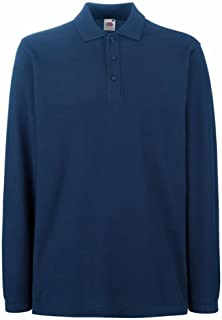 Fruit of the Loom Premium Long Sleeve Polo Navy M