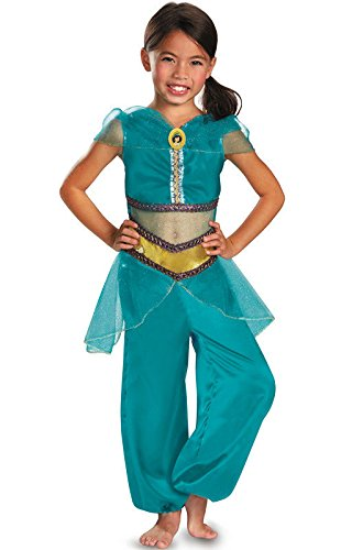 [Disguise Disney Aladdin Jasmine Sparkle Classic Girls Costume, 4-6X] (Halloween Jasmine Costume)