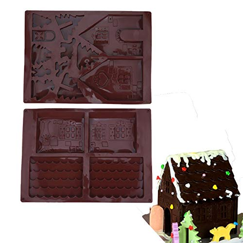 Transser Cabin House Shape Food Grade Silicone Gingerbread Cake Mold Chocolate Fondant Soap Candy Jellies Baking Making Bakeware Mould ()