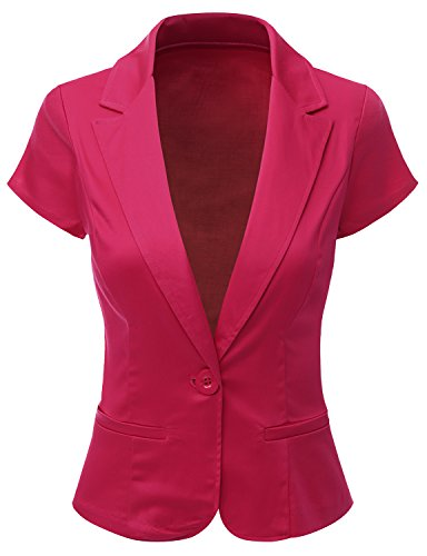 Doublju Women Contemporary Spandex Peacked Collar Regular Fit Blazer Suit Jacket FUCHSIA,3X