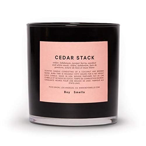 - Boy Smells Cedar Stack Candle, All Natural Beeswax and Coconut Wax Blend with Braided Cotton Wick in a Glossy Black Glass Tumbler, 55 Hour Burn Time, 8.5 Ounces