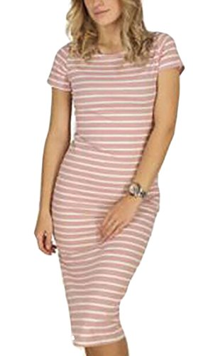 Dress Midi Womens Summer Bodycon 1 Jaycargogo Sleeve Short Stripe 0wHfqnZxZR