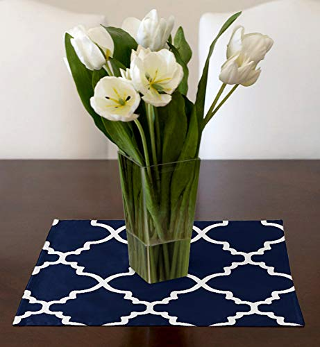 A LuxeHome Navy Blue and White Modern Contemporary Trellis Square Table Topper Centerpiece 17