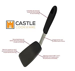 Silicone Spatula Turner Flexible Stainless Steel Core High Heat 600° F Heavy Duty Dishwasher Safe Easy Clean Non Stick