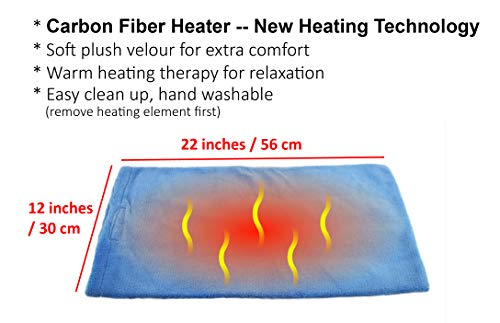 - ObboMed MH-2000 Far Infrared Carbon Fibre Heated Pad, 12V 20W, 2-Level Heat Settings, Removable and Hand Washable Velour Cover, Far Infrared Wavelength 8-15 μm (Health range: 4-14 μm) - 22