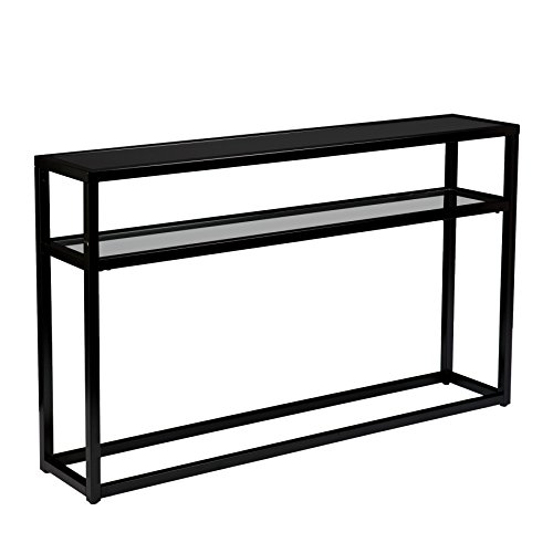 Metal Contemporary Couch (Holly & Martin Baldrick Glass Media Console Table, Matte Black Finish)