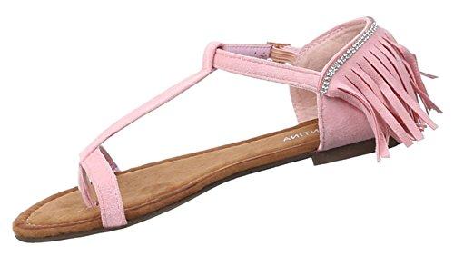 Damen Sandalen Schuhe Dianetten Zehentrenner Damenschuhe Schwarz Beige Rosa 36 37 38 39 40 41 Rosa