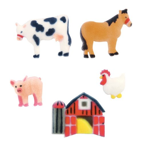 (Farm Cow Horse Pig Sugar Decorations Cookie Cupcake Cake 12 Count )