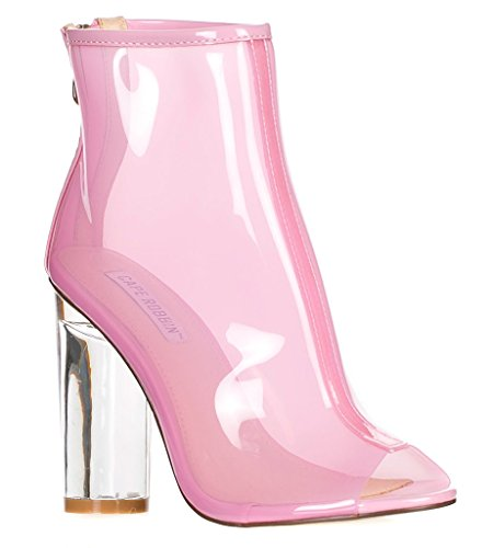 Lucite Heel Shoes (CAPE ROBBIN FF66 Women's Peep Toe Block Clear Lucite Heel Ankle Booties, Color:PINK,)