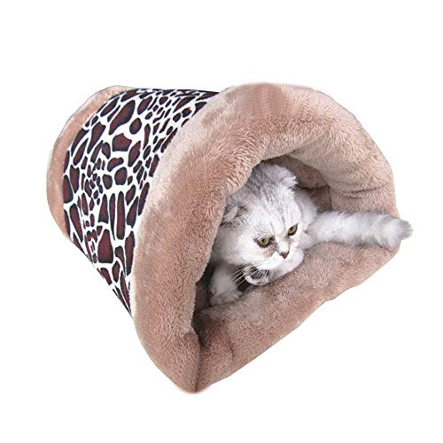 DotPet 2-in-1 Soft Cat Bed, Pet Bed Tunnel Fleece Travel Tube Indoor Cushion Pyramid Mat Windproof Winter Cozy Cat Nest for Cat Dog Kitten Puppy Small Animals (Leopard Print) ()