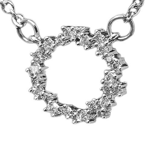 S925 Sterling Silver Open Circle Eternity Necklace. Rhodium Plated w/ 25 AAA Cubic Zirconia Diamonds. 18 (45cm) adjustable Chain w/Lobster Claw Clasp, presented in an exquisite Black Jewelry Gift Box