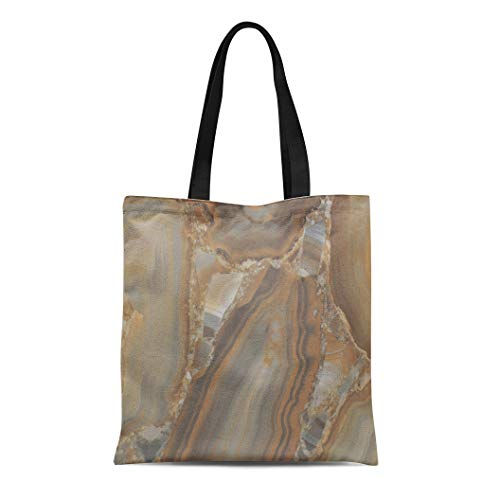 Semtomn Cotton Canvas Tote Bag Brown Marble of the Stone in Cut Gray Abstract Reusable Shoulder Grocery Shopping Bags Handbag Printed ()