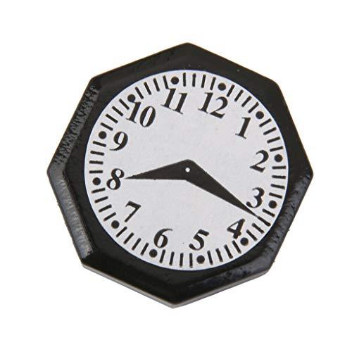 NATFUR Black Octagonal Clock for 1/12 Dollhouse Miniature Wall - Bookcase Florence