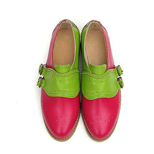 (Women's Fashion Perforated Buckle Two Tone Flat Oxfords Brogue Wingtip Slip-on Round Toe Shoes )