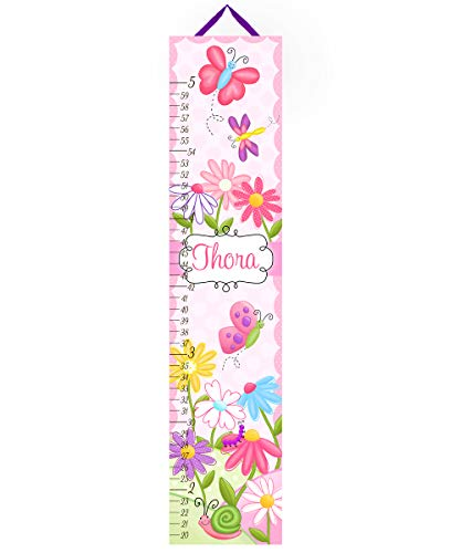 Toad and Lily Canvas GROWTH CHART Fun Little Bugs Garden Flowers Girls Bedroom Baby Nursery Bedroom Wall Art GC0076 ()