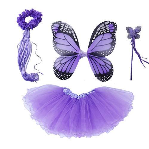 4 PC Girls Fairy Princess Costume Set with Wings, Tutu, Wand & Halo (Light Purple) ()