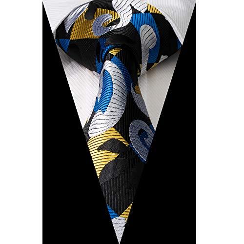 Paisley & Plaid Tie Handkerchief Woven Classic Men's Necktie & Pocket Square Set (Blue,Silver,Gold,Black)