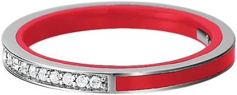 ESPRIT Women's Ring 925 Sterling Silver Rhodium Plated Crystal Zirconia Marin Silver Glam Red White