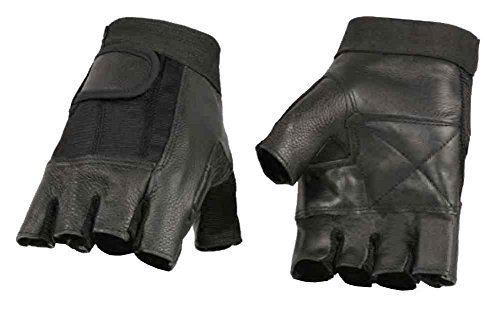 Milwaukee Leather Men's Leather Mesh Combo Fingerless Gloves, Black SH217 (L) - Black Leather Riding Gloves