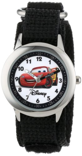 "Disney Kids' W000093 Cars ""Time Teacher"" Stainless Steel Watch with Black Nylon Band"