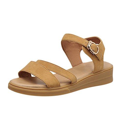 Chaussures Sandales Femme Plat Boucle Roman Talon Toe Femmes Sandales Casual Femmes Peep Chaussures Soirée Compensé Brun Frestepvie B4xgOO