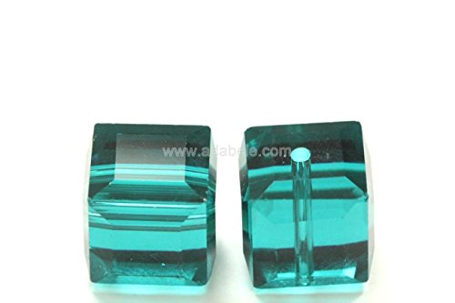 24 6mm Adabele Austrian Cube Crystal Beads Emerald Alternative For Swarovski Preciosa Crystalized 5601 #SSC624 6 Mm Cut Cubes