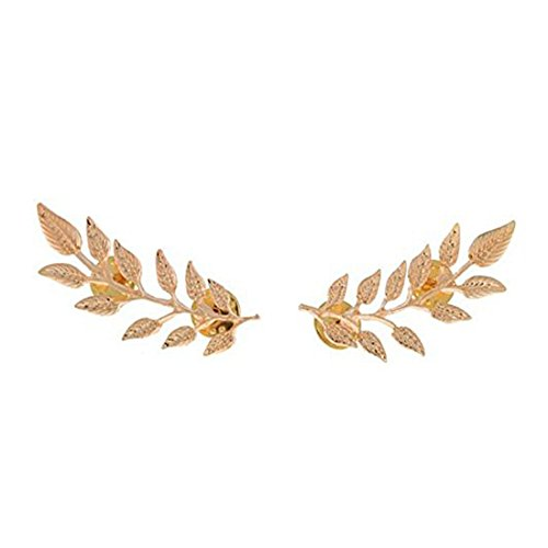SODIAL(R)Women's Vintage Fashion Punk Style Leaf Collar Reversible Pin Brooch Gold 1 Pair