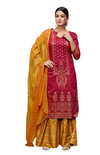 - Ready to Wear Multi Colored Pure Silk Salwar Suit. (Maroon, Small)