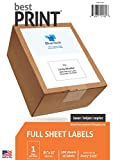Full Sheet - Best Print Address Labels - 8-1/2'' x 11'' (Same size as 5165), 100 Labels