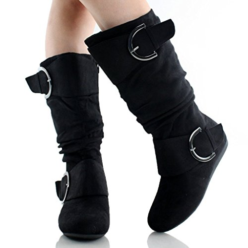 Black Top Moda Toe Slouchy Women's Round with Buckle 80 Boot qfq1n8RT
