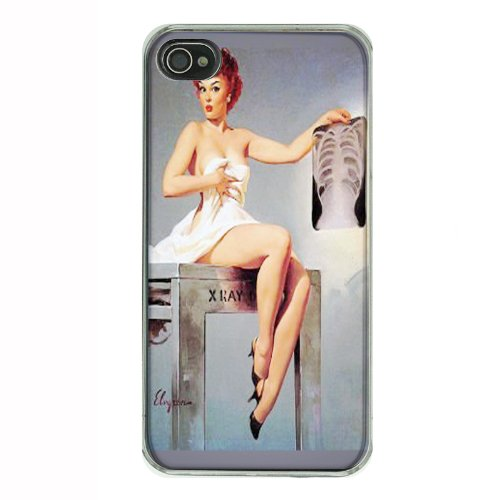 Pin Up Redhead Girl Chest X-Ray iPhone 4 4S Hard Case Back Cover D ...