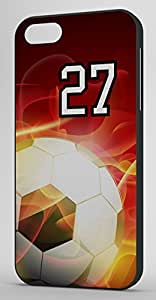 Flaming Soccer Sports Fan Player Number 27 Black Rubber Decorative iphone 6 4.7 Case