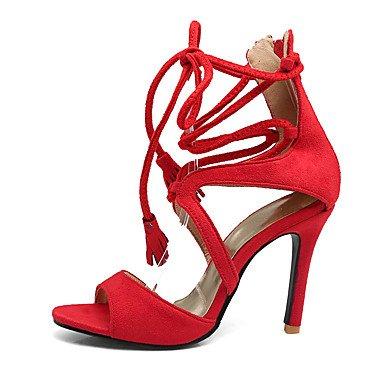 LvYuan Mujer-Tacón Stiletto-Zapatos del club Tira en el Tobillo-Sandalias-Boda Vestido Fiesta y Noche-Vellón-Negro Rojo Almendra Black